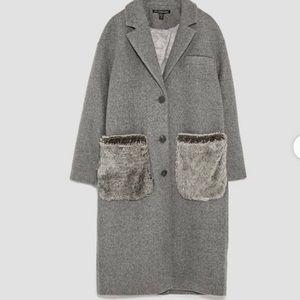 Zara faux fur pocket long coat